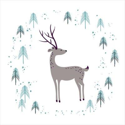 Наклейка Олень в зимний период соснового леса, изолированных на белом фоне.