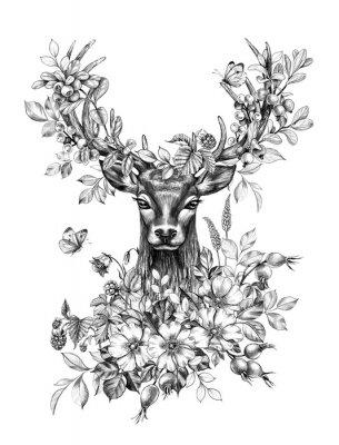 Наклейка Deer with Flowers, Berries and Butterflies Pencil Drawing