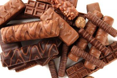 Наклейка Вкусные шоколадные батончики с орехами закрыть