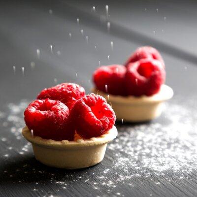 Наклейка вкусный десерт пироги со свежей малиной