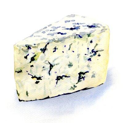 Наклейка вкусный сыр плесень на белом фоне