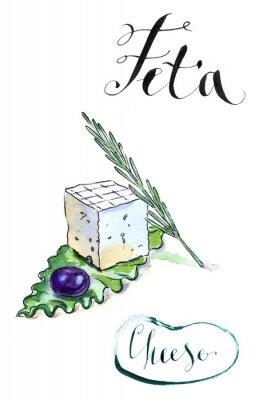 Наклейка Вкусные нарезанные греческий сыр фета с оливковым, розмарина и Сала