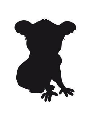 Наклейка дизайн коала черный силуэт прохладный комического сидит контур тени