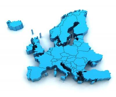 Наклейка Деталь Карта Европы с национальными границами