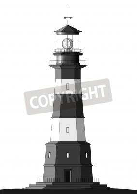 Наклейка Подробное маяк, изолированных на белом