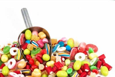 Наклейка Различные цветные конфеты, изолированные на белом фоне