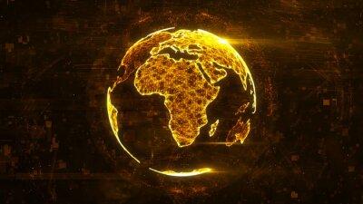 Наклейка Цифровой абстрактный глобус из светящихся линий сплетения. Структура бизнес-технологий оранжевых линий, точек и частиц. Африканский континент. 3d рендеринг