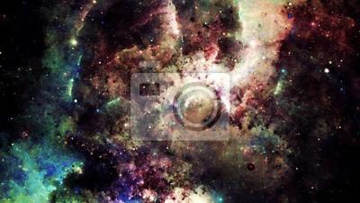 Наклейка Цифровой аннотация яркие и красочные туманности галактики и звезды