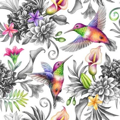 Наклейка digital watercolor botanical illustration, seamless floral pattern, wild tropical flowers, humming birds, white background. Paradise garden day. Palm leaves, calla lily, plumeria, hydrangea, gerber