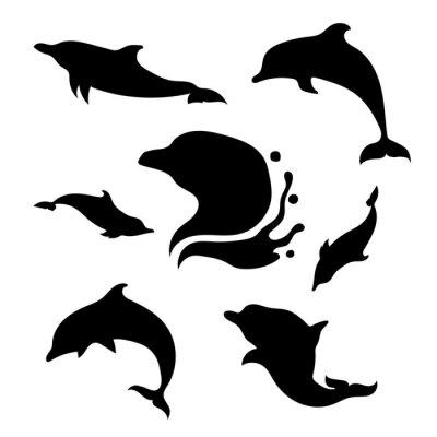 Наклейка набор векторных Дельфин