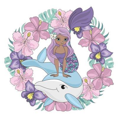 Наклейка DOLPHIN WREATH Floral Mermaid Cartoon Underwater Sea Ocean Cruise Travel Tropical Animal Vector Illustration Set for Print Fabric and Decoration
