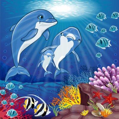 Наклейка Дельфины на дне моря