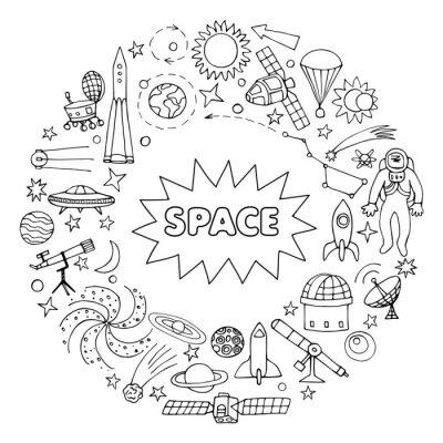 Наклейка Doodle космические элементы