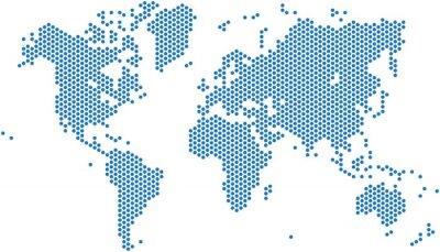 Наклейка Dots карта мира на белом фоне, векторные иллюстрации.