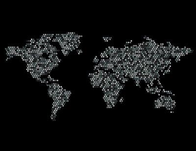 Наклейка Пунктирная Карта мира континентов Random Gray