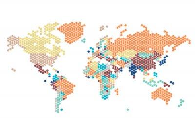 Наклейка Пунктирные карта мира шестиугольных точек