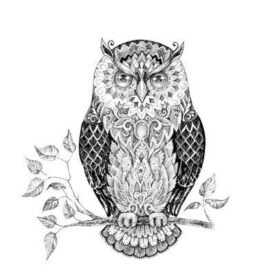 Наклейка Рисование сова с красивыми узорами