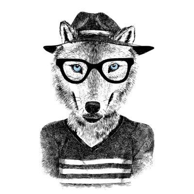 Наклейка Одетый волк