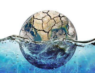 Наклейка Высушенные планета погружается в водах мирового океана