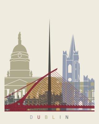 Наклейка Дублин горизонт постер