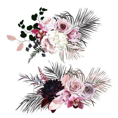 Наклейка Dusty rose, hydrangea, pink cymbidium orchid, berry, bronze, black palm leaves