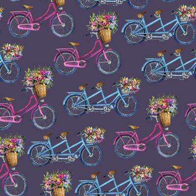 Наклейка бесшовный узор с велосипедами и цветами