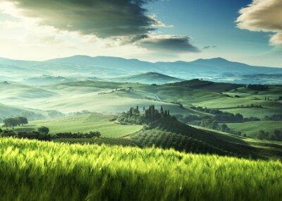Наклейка Раннее весеннее утро в Тоскане, Италия