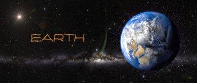 Наклейка Земли в космическом пространстве.
