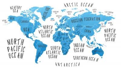 Наклейка Карта Земли с названиями стран