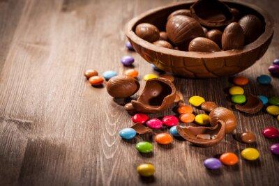 Наклейка Пасха фон шоколад