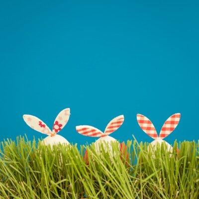 Наклейка Пасхальные яйца на зеленой траве