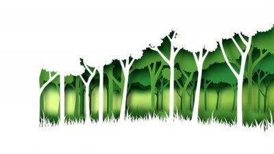 Наклейка Шаблон предпосылки леса природы зеленого цвета Eco. Лесная плантация с стилем искусства концептуального документа идеи экологичности и консервации окружающей среды творческим. Иллюстрация вектора.
