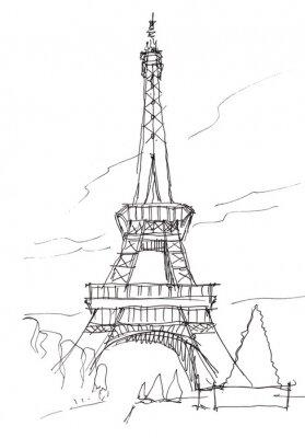 Наклейка Эйфелева башня руки перо каракули эскиз
