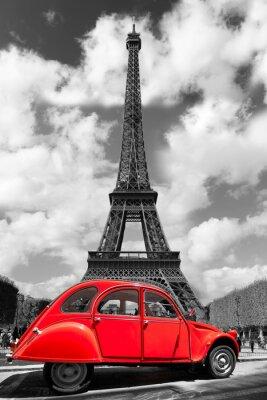 Наклейка Эйфелева башня с красным старого автомобиля в Париже, Франция