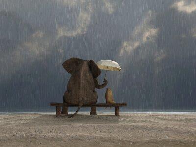 Наклейка слон и собака сидеть под дождем