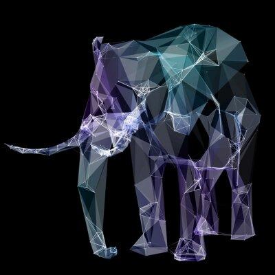 Наклейка Слон в дизайне полигона. Цифровые иллюстрации. концепция