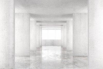 Наклейка Пустая комната с бетонными стенами, бетонный пол и большим окном, 3