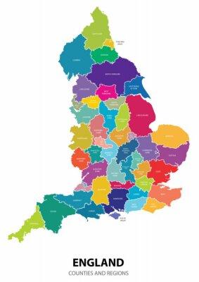 Наклейка Англия Карта с регионами