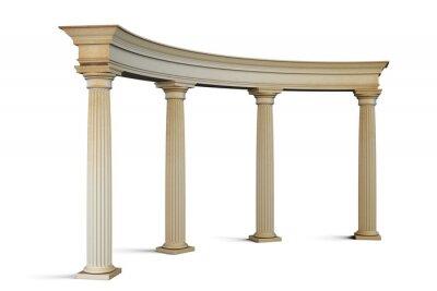 Наклейка Входная группа с колоннами в классическом стиле на белом. 3
