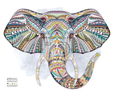 Наклейка Этнические узорные голова слона на фоне гранжа / Африканский / индийский дизайн / тотем / татуировки. Используйте для печати, плакаты, футболки.