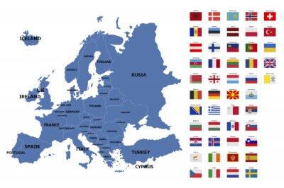 Наклейка Карта Европы и флаги