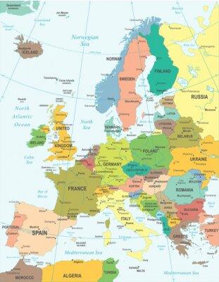Наклейка Карта Европы - очень подробные векторные иллюстрации.