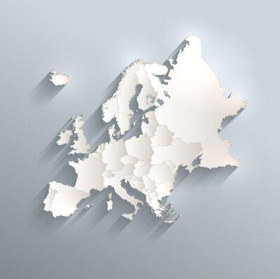 Наклейка Европа политический флаг карта 3D векторные отдельные государства отдельные