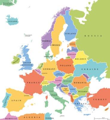 Наклейка Европа одиночные государства политическая карта. Все страны в разных цветах, с национальными границами и названиями стран. Английский маркировки и масштабирование. Иллюстрация на белом фоне.