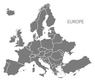 Наклейка Европа со странами Карта серый