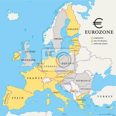 Наклейка Eurozone Countries Map