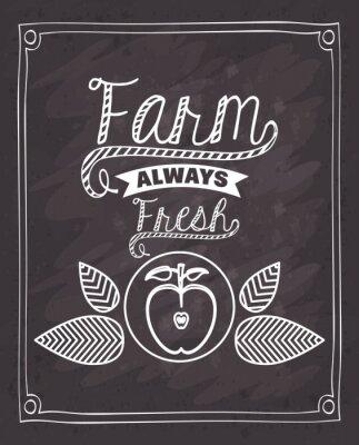 Наклейка фермы свежий дизайн еда