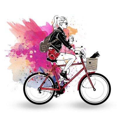 Наклейка Мода девушка в стиле эскиз на фоне красочных.