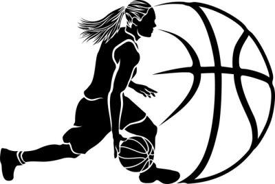 Наклейка Женский баскетбол Капля Sihouette с мячом