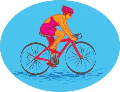 Наклейка Женщина Велосипедист езда велосипед рисования
